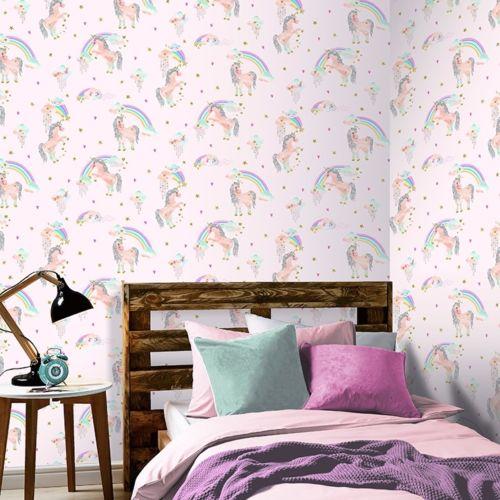 Rainbow Unicorn Wallpaper Girls Bedroom Glitter Sparkle Pink Silver Arthouse