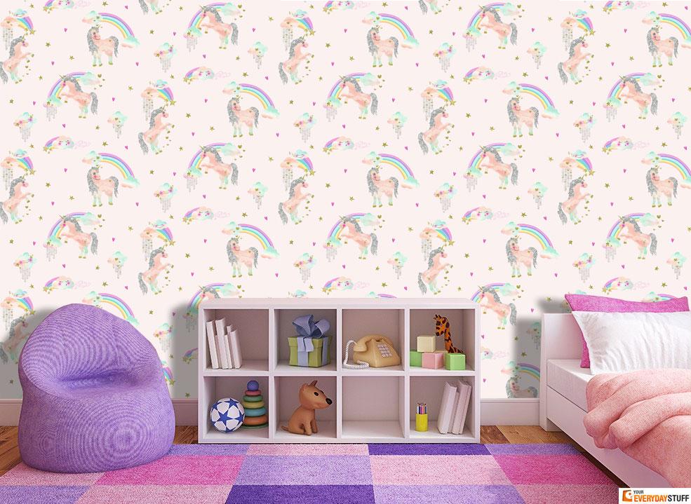 Rainbow Unicorn Wallpaper Girls Bedroom Glitter Sparkle Pale Pink