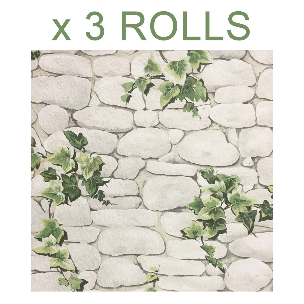 Details About White Stone Wall Wallpaper Slate Brick Effect Green Ivy Textured Embossed X 3