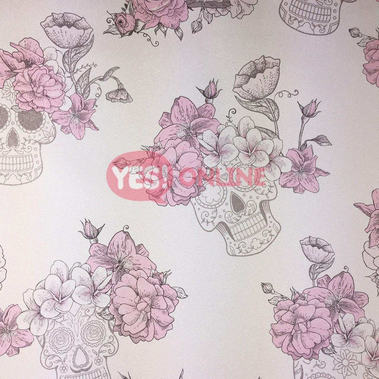Roses Skulls Flower Floral Glitter Textured Wallpaper Pink Grey