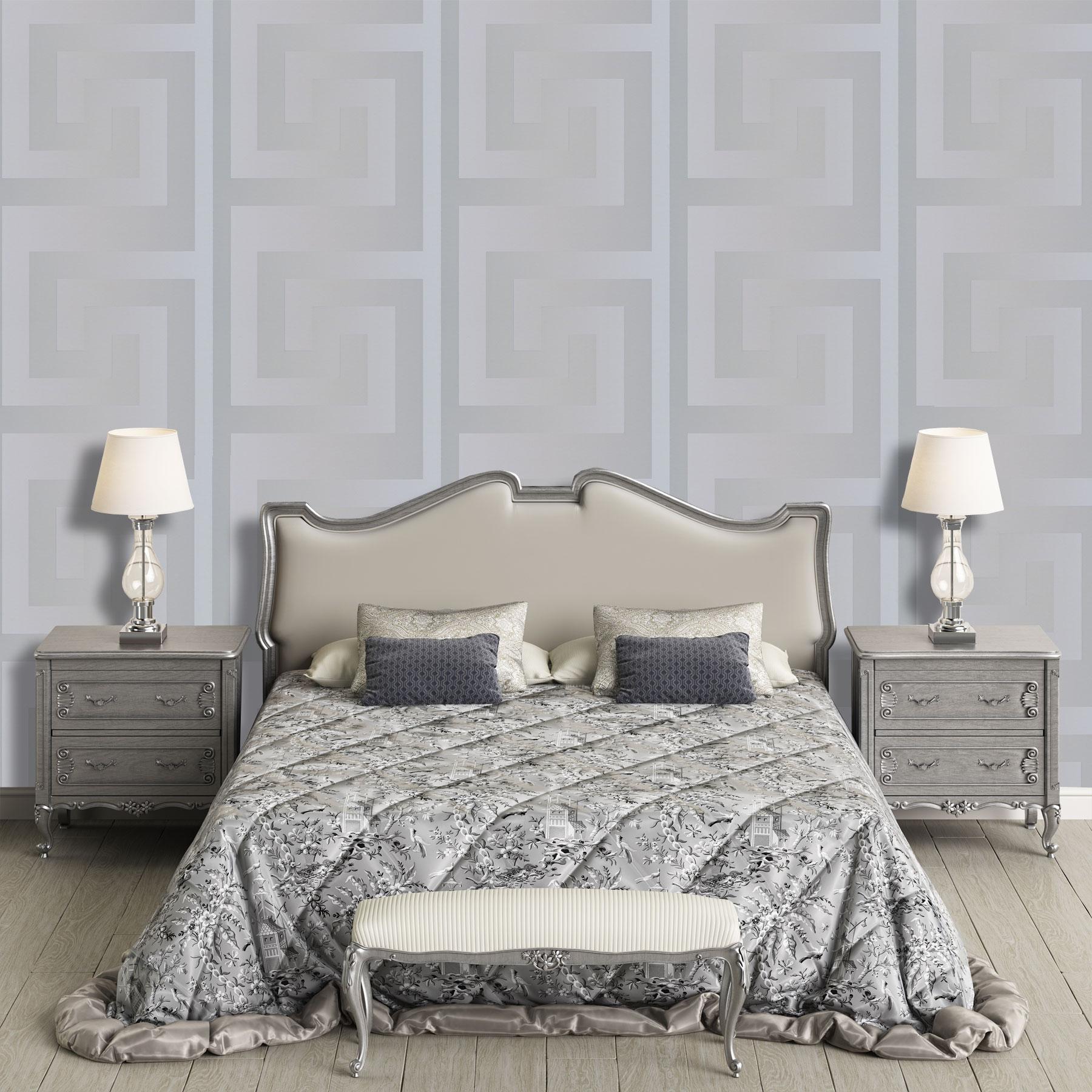 Silver Versace Wallpaper Designer Greek Key Luxury Modern Satin