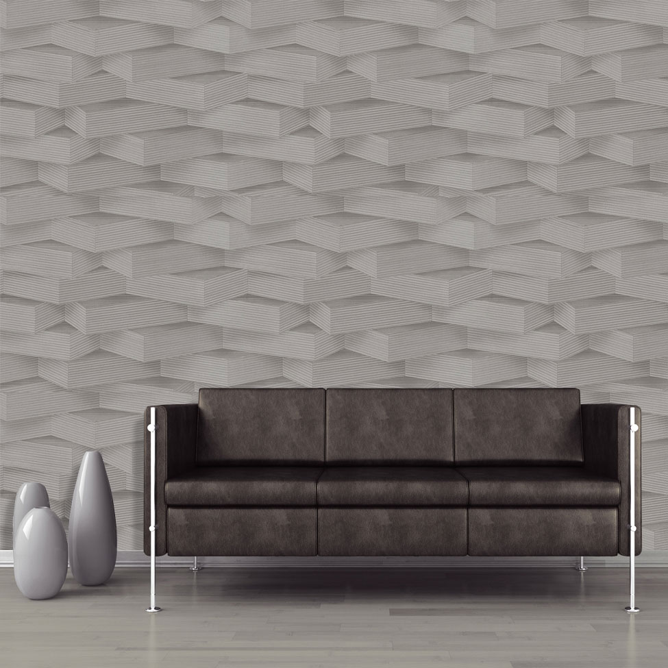3d geometric wallpaper brick modern futuristic grey vinyl for Gray vinyl wallpaper