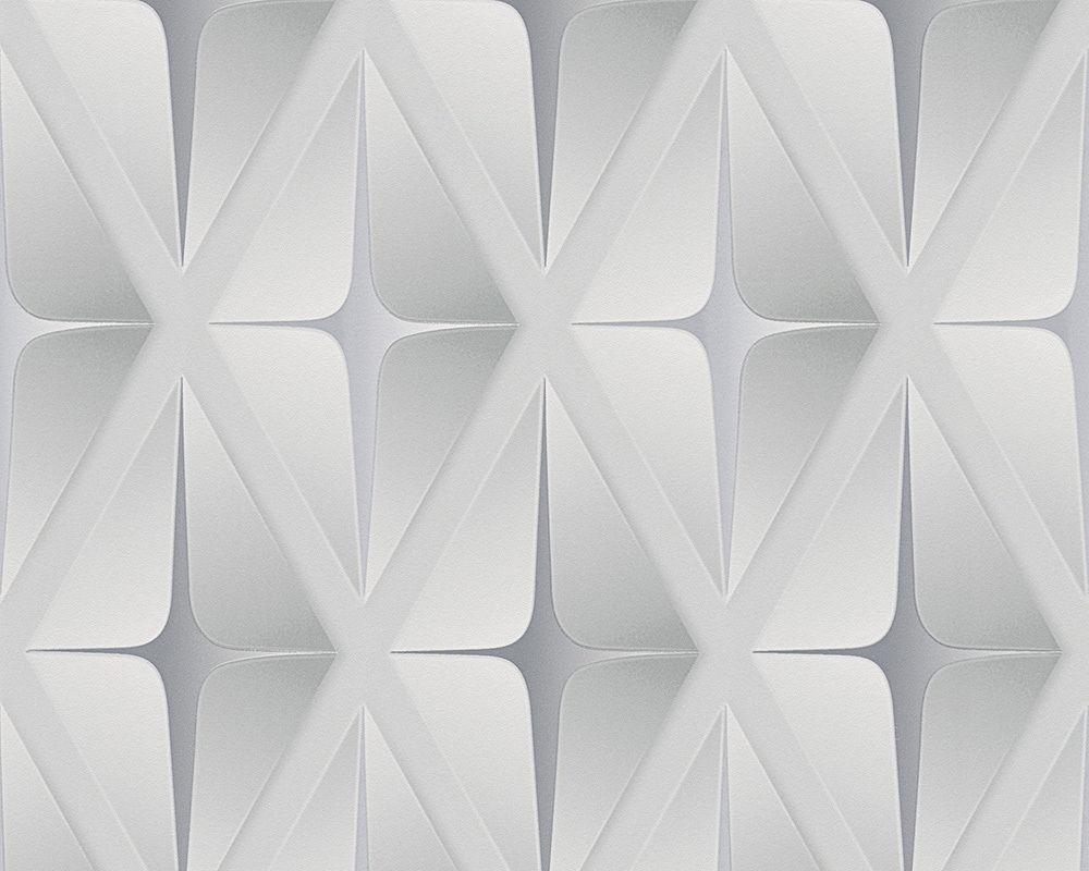 3D Wallpaper Geometric Square Embossed Modern Silver Grey AS