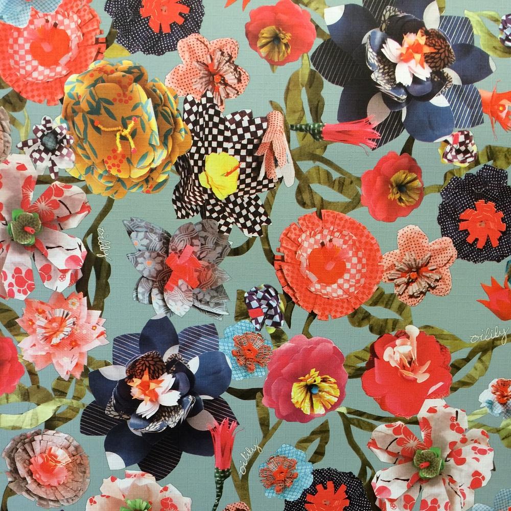 oilily floral flower wallpaper retro vintage feature. Black Bedroom Furniture Sets. Home Design Ideas