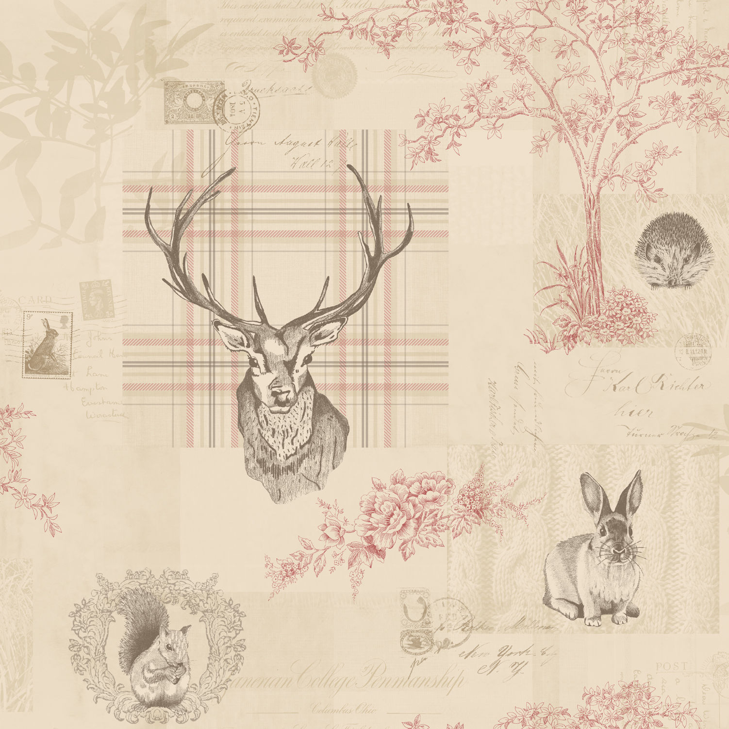 Details about Animal Print Wallpaper Woodland Stag Rabbit Trees Flowers Cranberry Linen