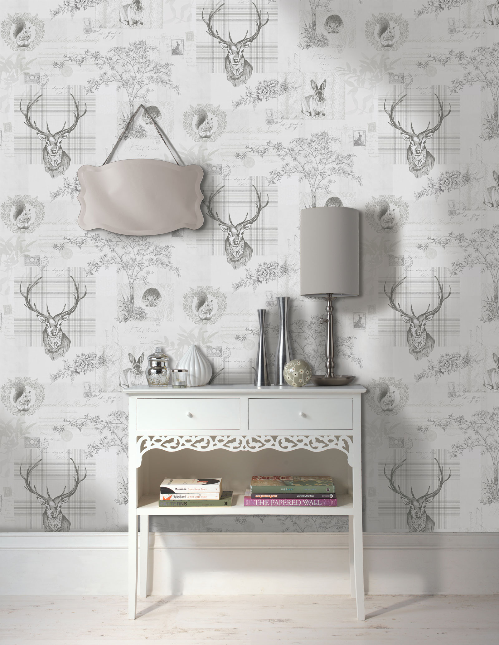 Details about Animal Print Wallpaper Woodland Stag Rabbit Trees Flowers Grey Charcoal