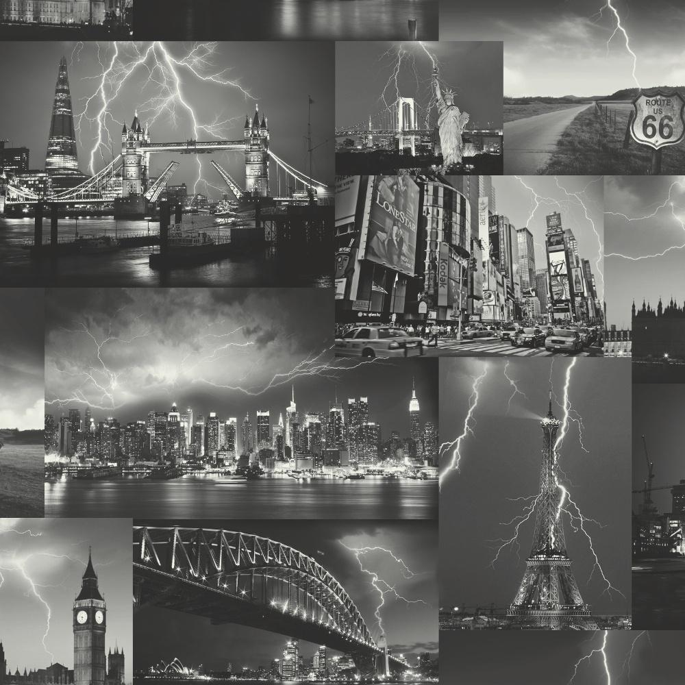 City Wallpaper Skyline Paris London New York Storm Collage Black