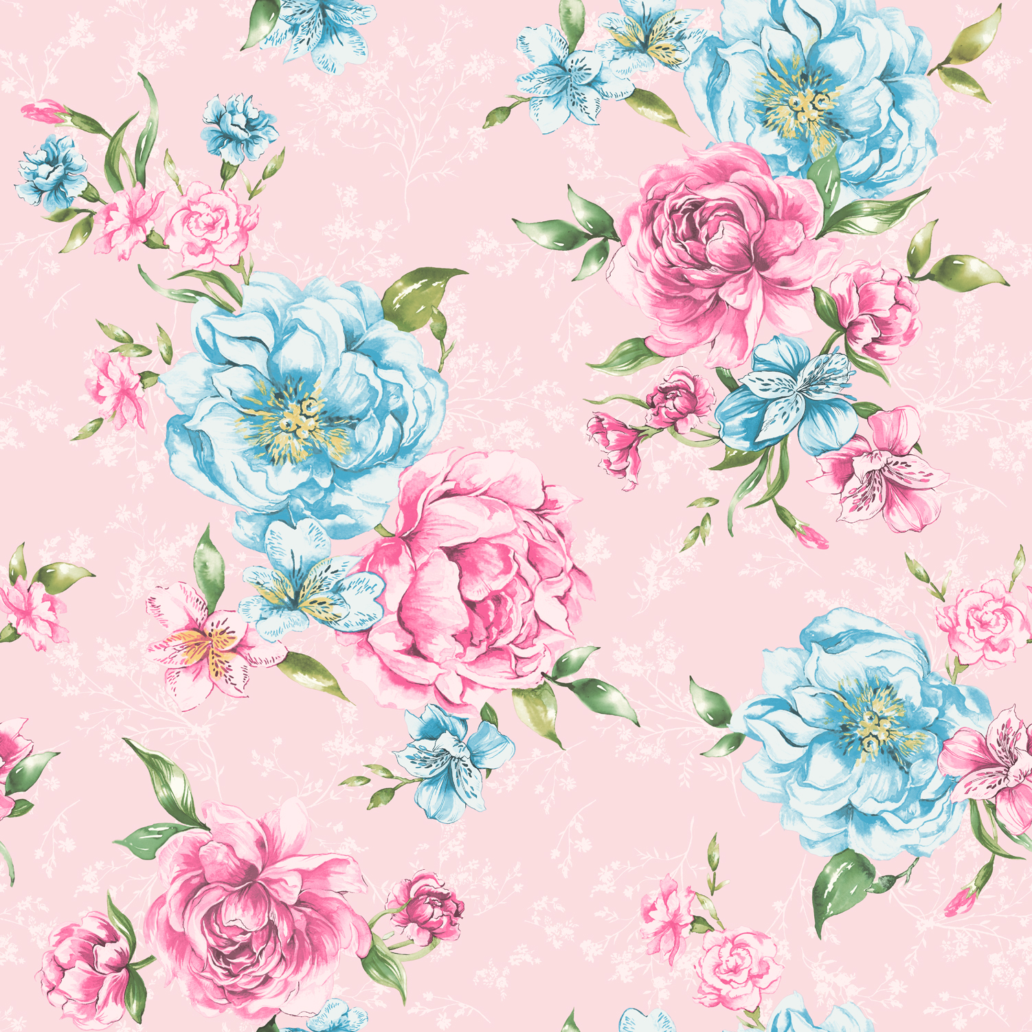 Flower Wallpaper Floral Pattern Josephine Leaf Motif Bright Pink