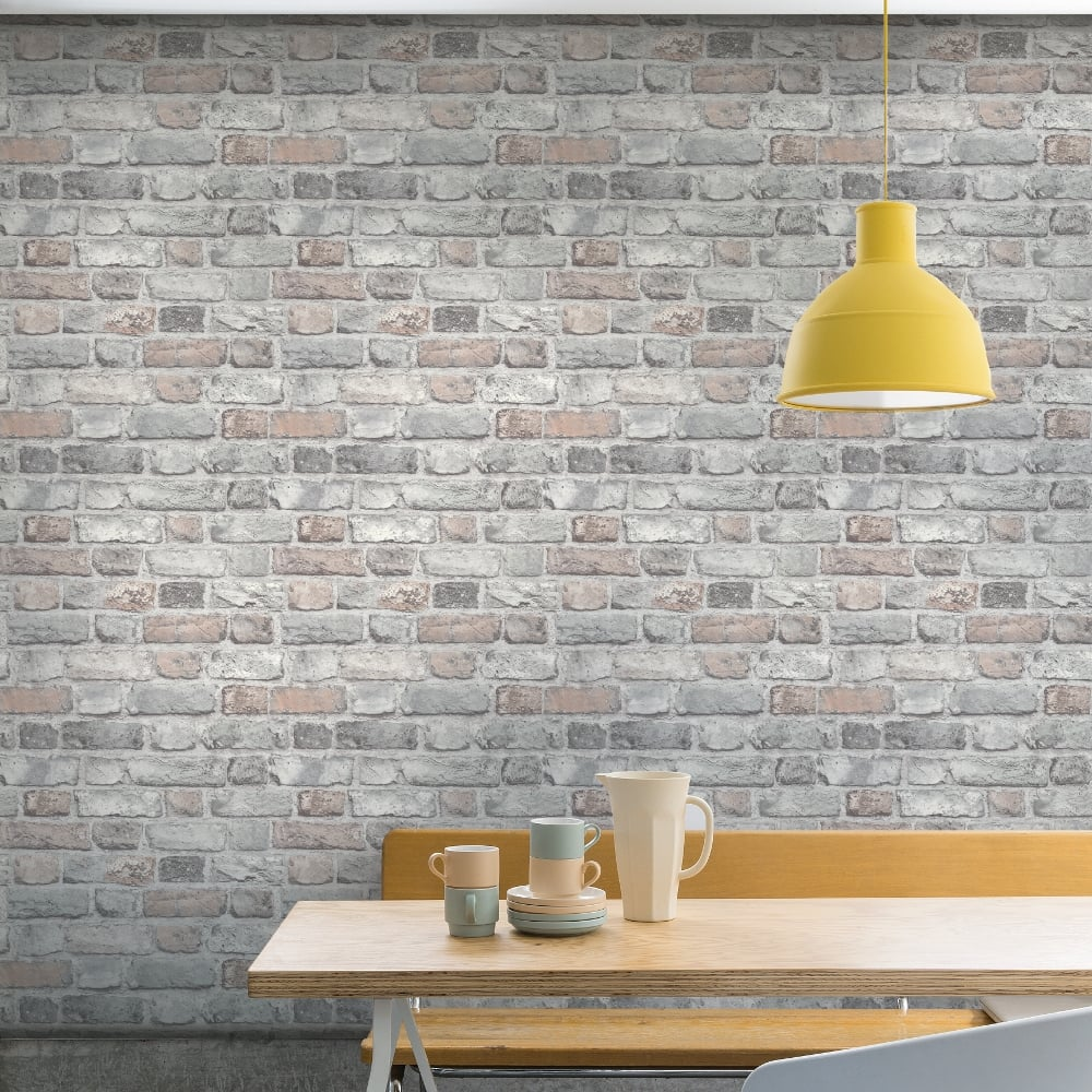 3d brick effect wallpaper slate stone realistic textured vinyl vintage grandeco ebay - Washable wallpaper ...