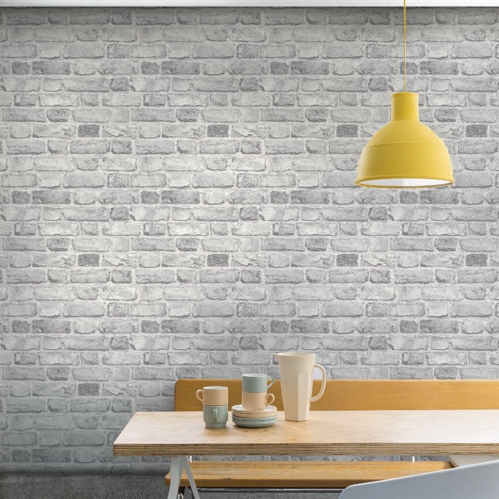 3D-Brick-Effect-Wallpaper-Slate-Stone-Realistic-Textured-Vinyl-Vintage-Grandeco thumbnail 3