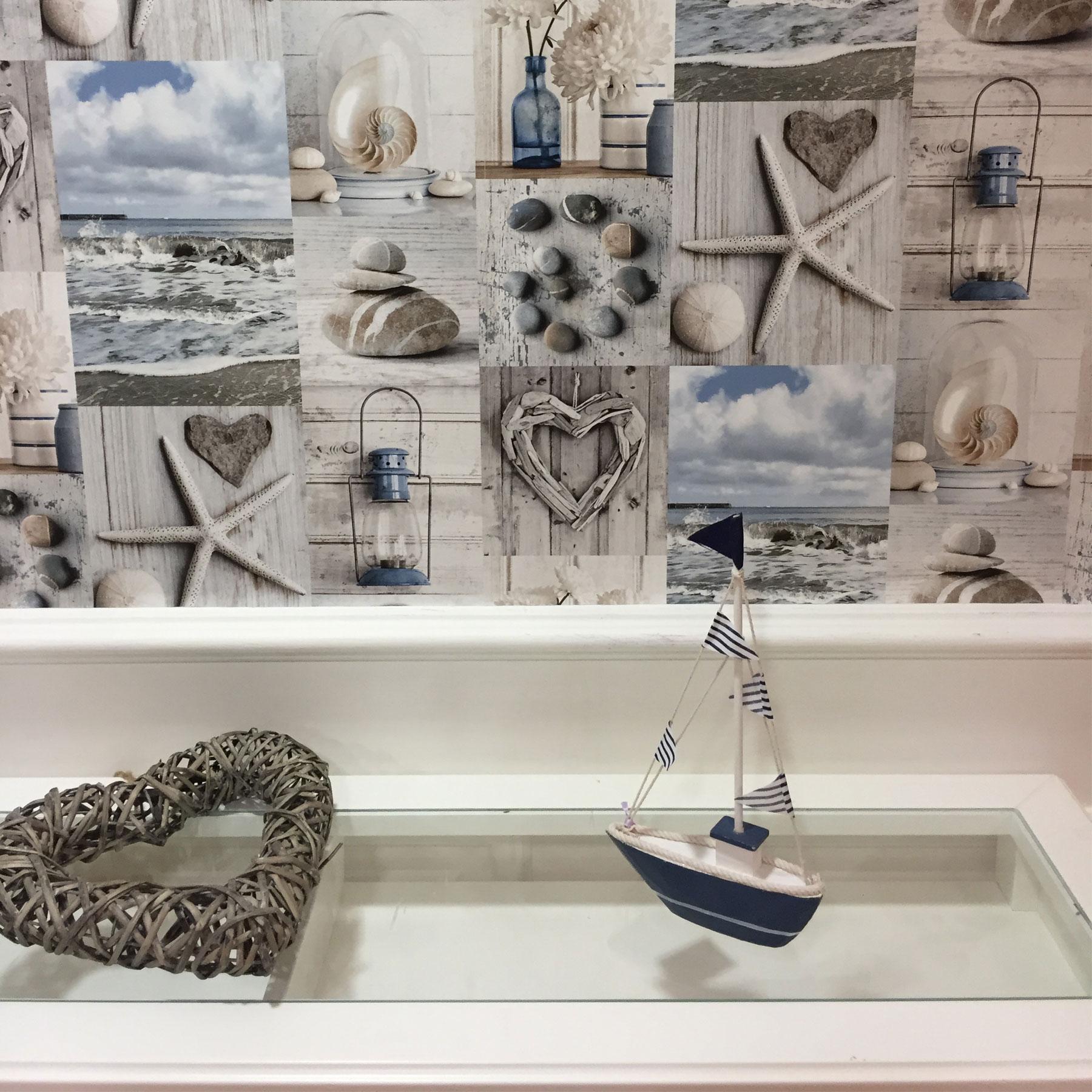 Rustic Nautical Bathroom Decor: Beach Wallpaper Nautical Bathroom Pebbles Love Hearts Blue