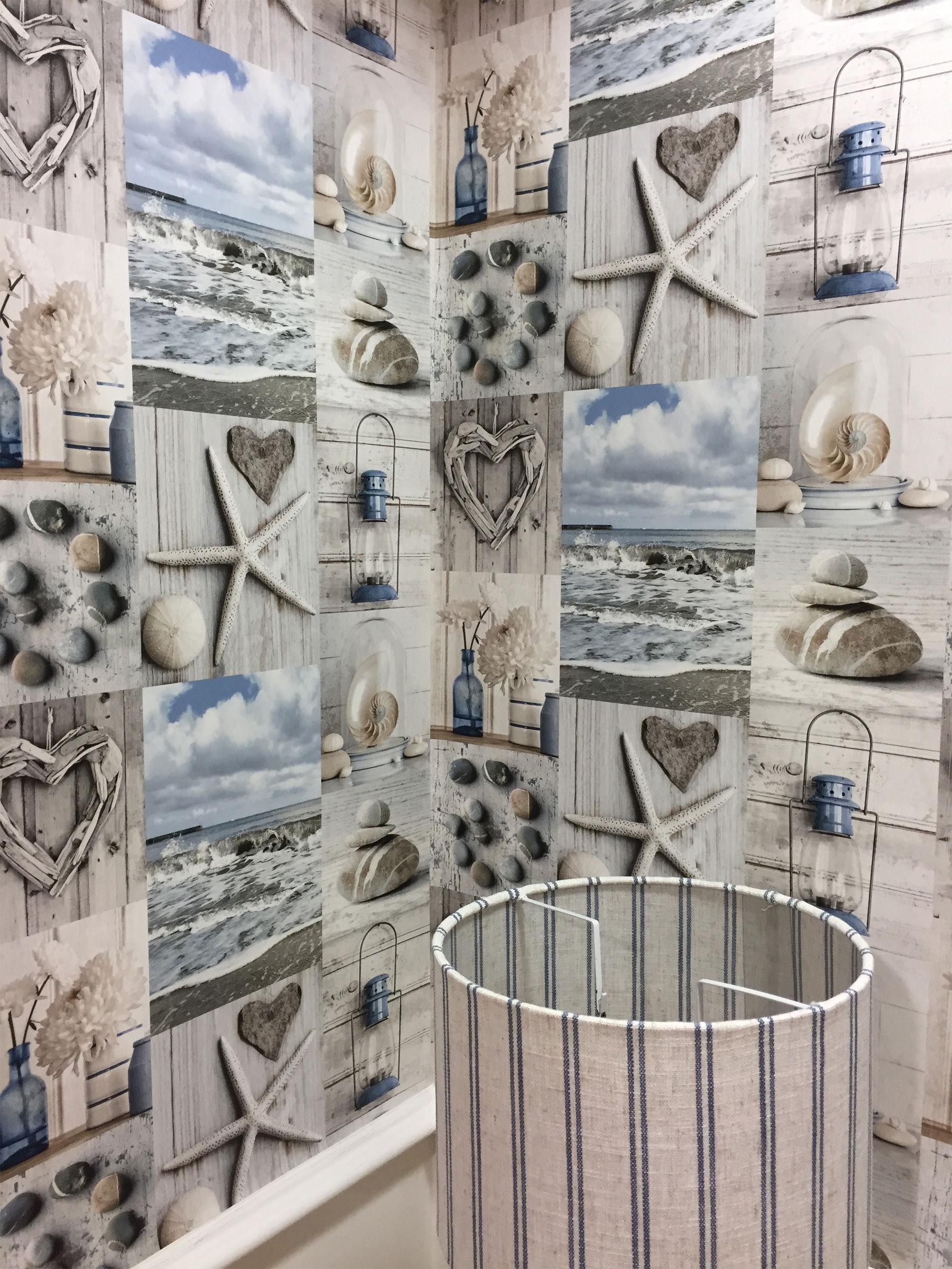 Beach Wallpaper Nautical Bathroom Pebbles Love Hearts Blue Grey Rustic Maritime 5050192699006 Ebay