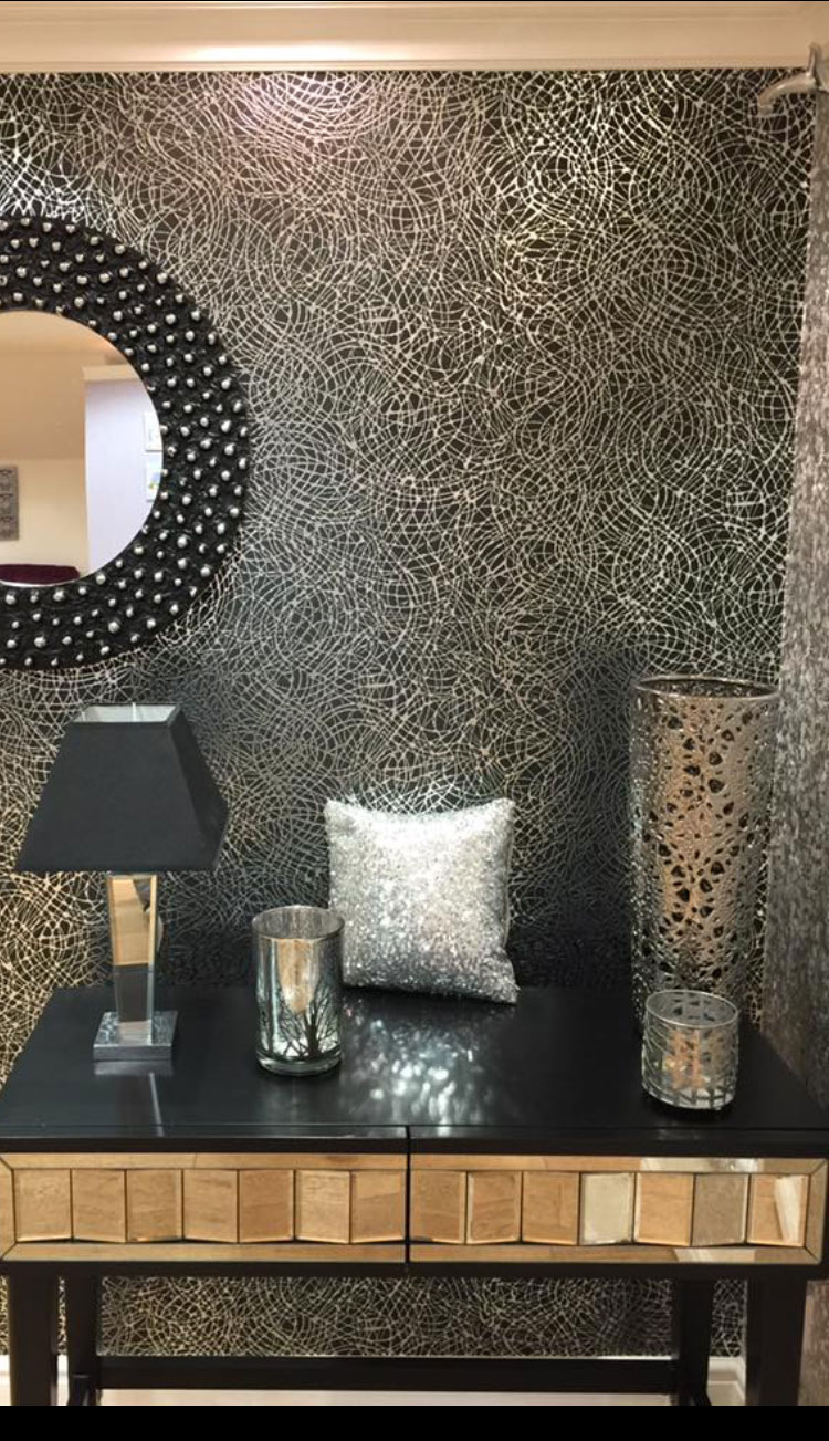 Foil Swirl Metallic Shiny Wallpaper Black Silver Luxury Textured Vinyl Arthouse