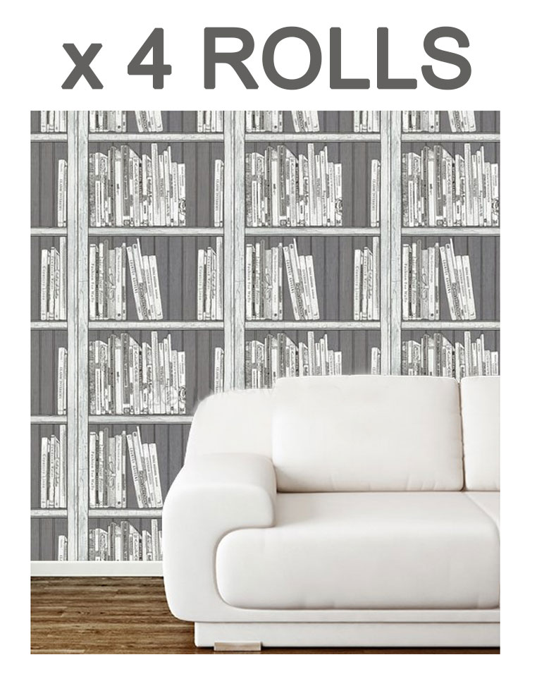 Bookcase Wallpaper Black White Silver Library Books Wooden Effect 4 Rolls
