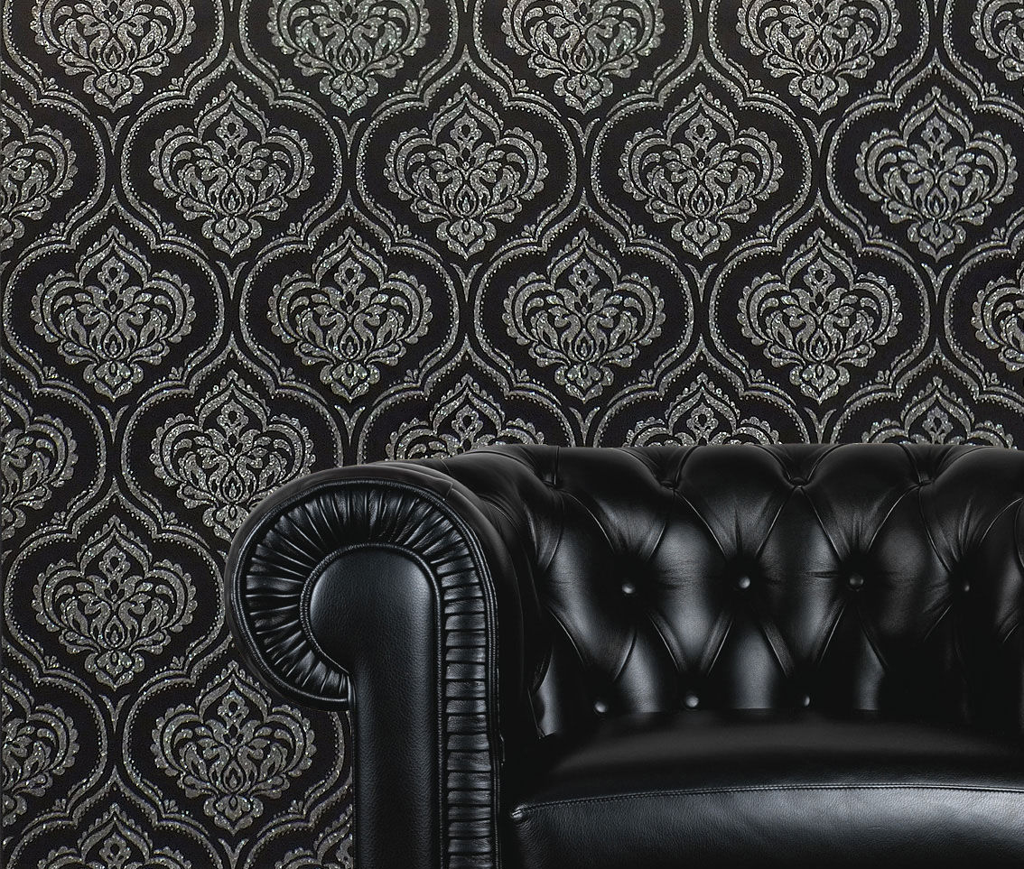 Details About Damask Wallpaper Glitter Sparkle Shimmer Modern Black Silver Luxury Fine Decor