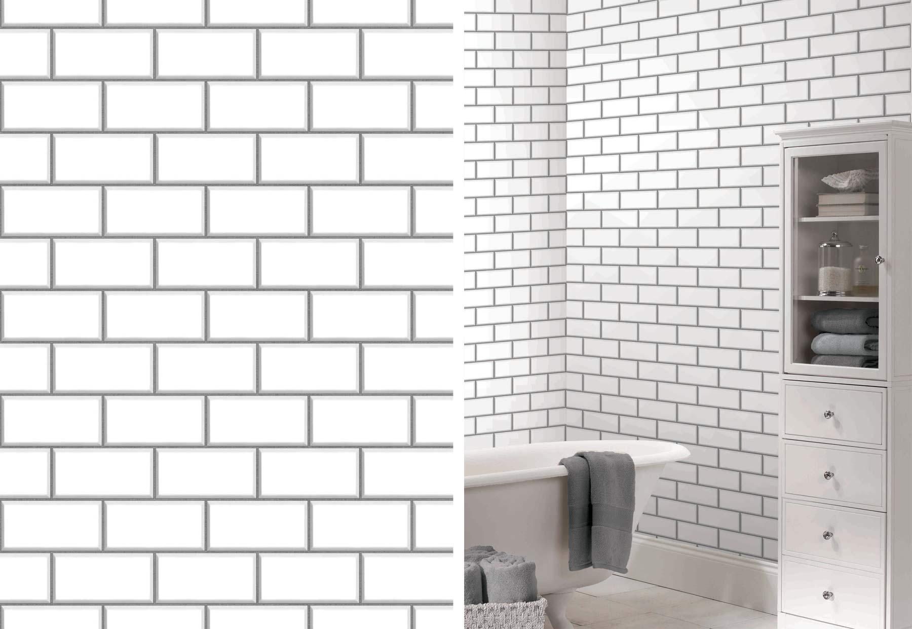 Ceramica New York Subway Tile Brick Wallpaper By Fine Decor Fd40138