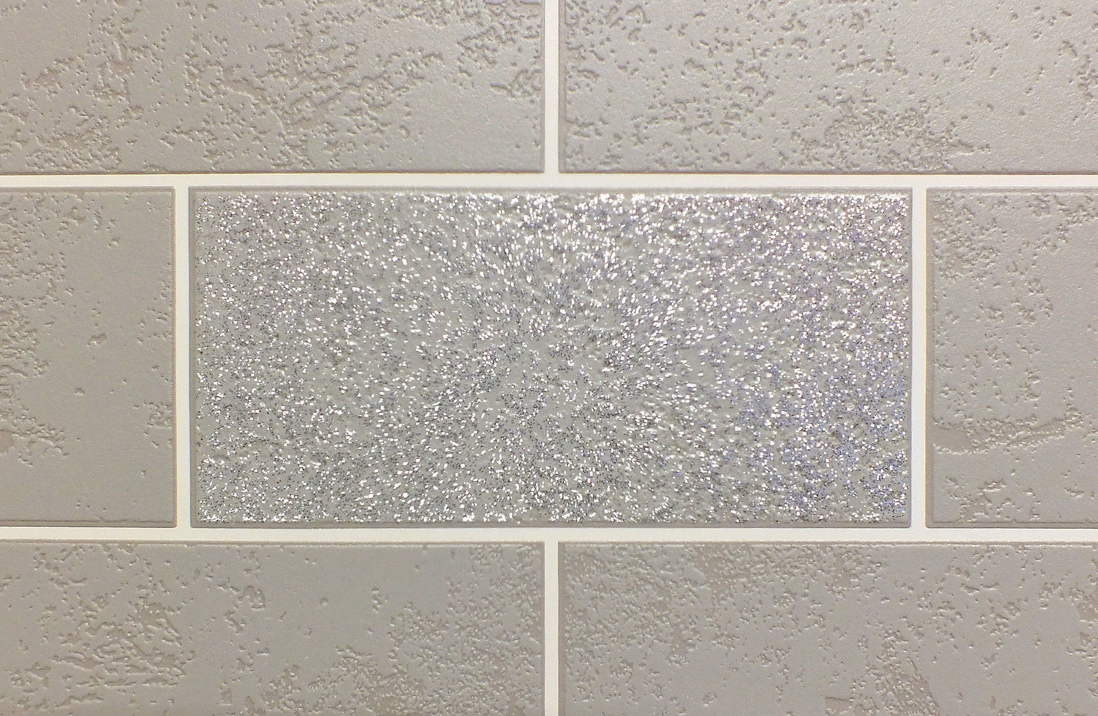 Brick effect wallpaper tile glitter luxury washable vinyl grey