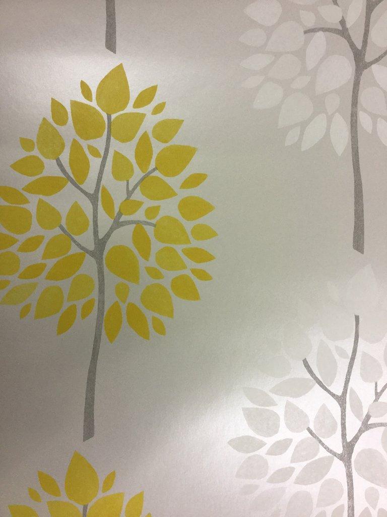 Tree Wallpaper Riva Leaves Luxury Heavyweight Modern Grey