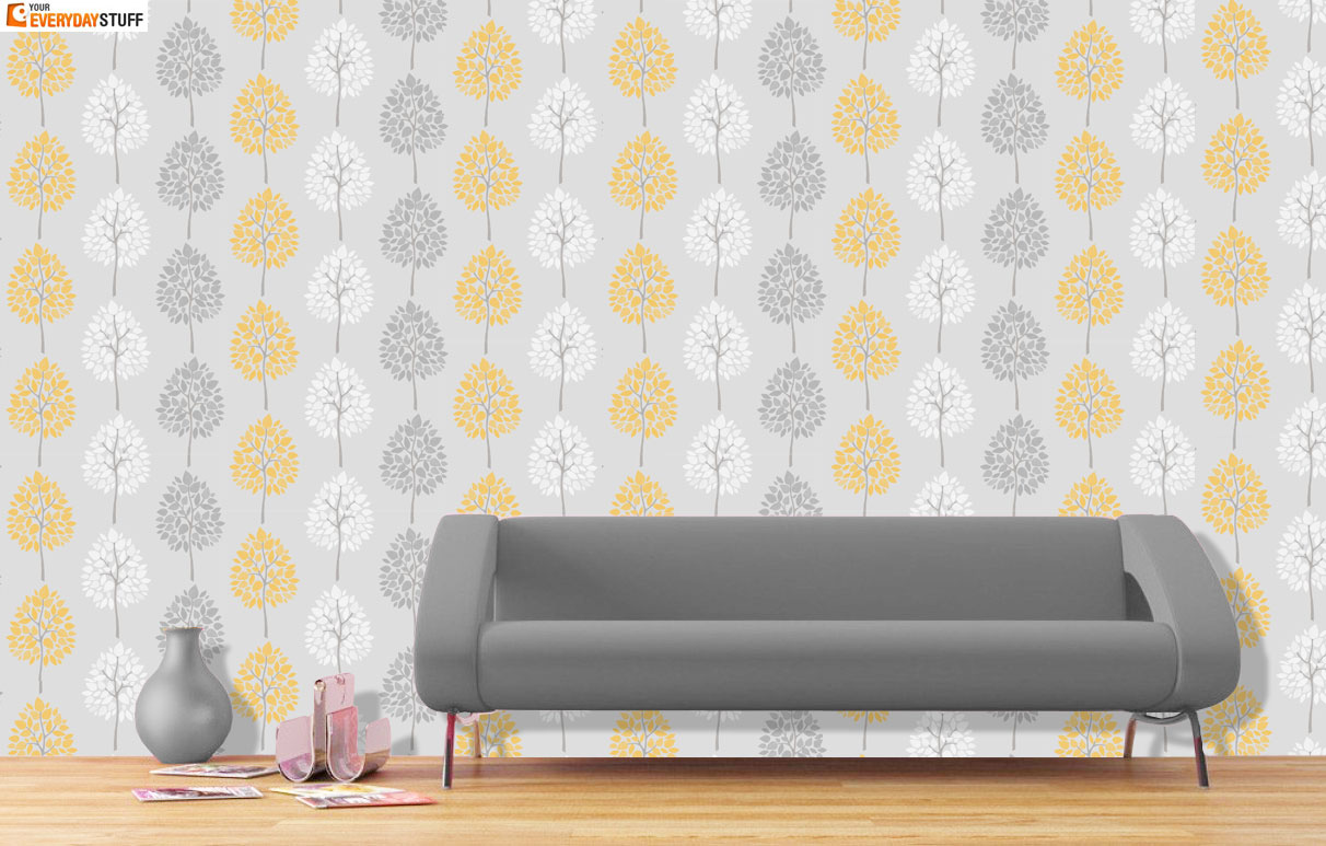 Grey And Yellow Living Room Wallpaper | Gopelling.net
