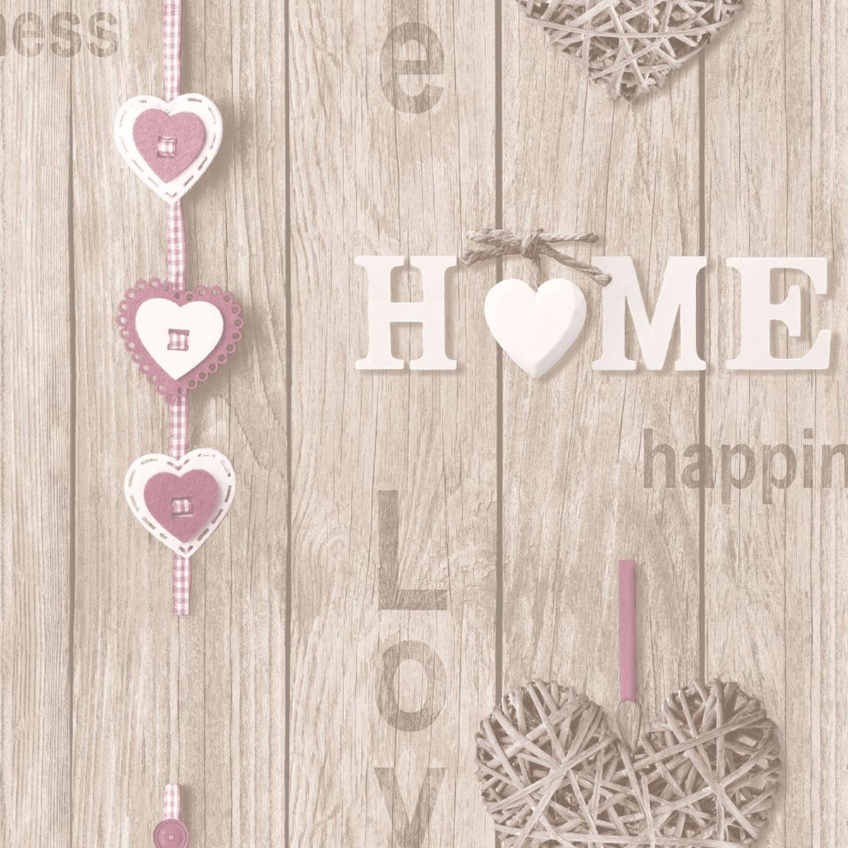 Wood Panel Wallpaper Wooden Effect Love Hearts Distressed Lilac Fine Decor