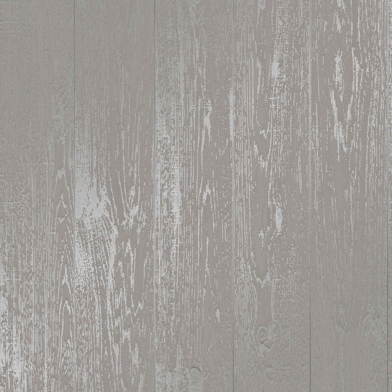 White Metallic Silver Wood Effect Wallpaper Wooden Grain Distressed Loft Wood