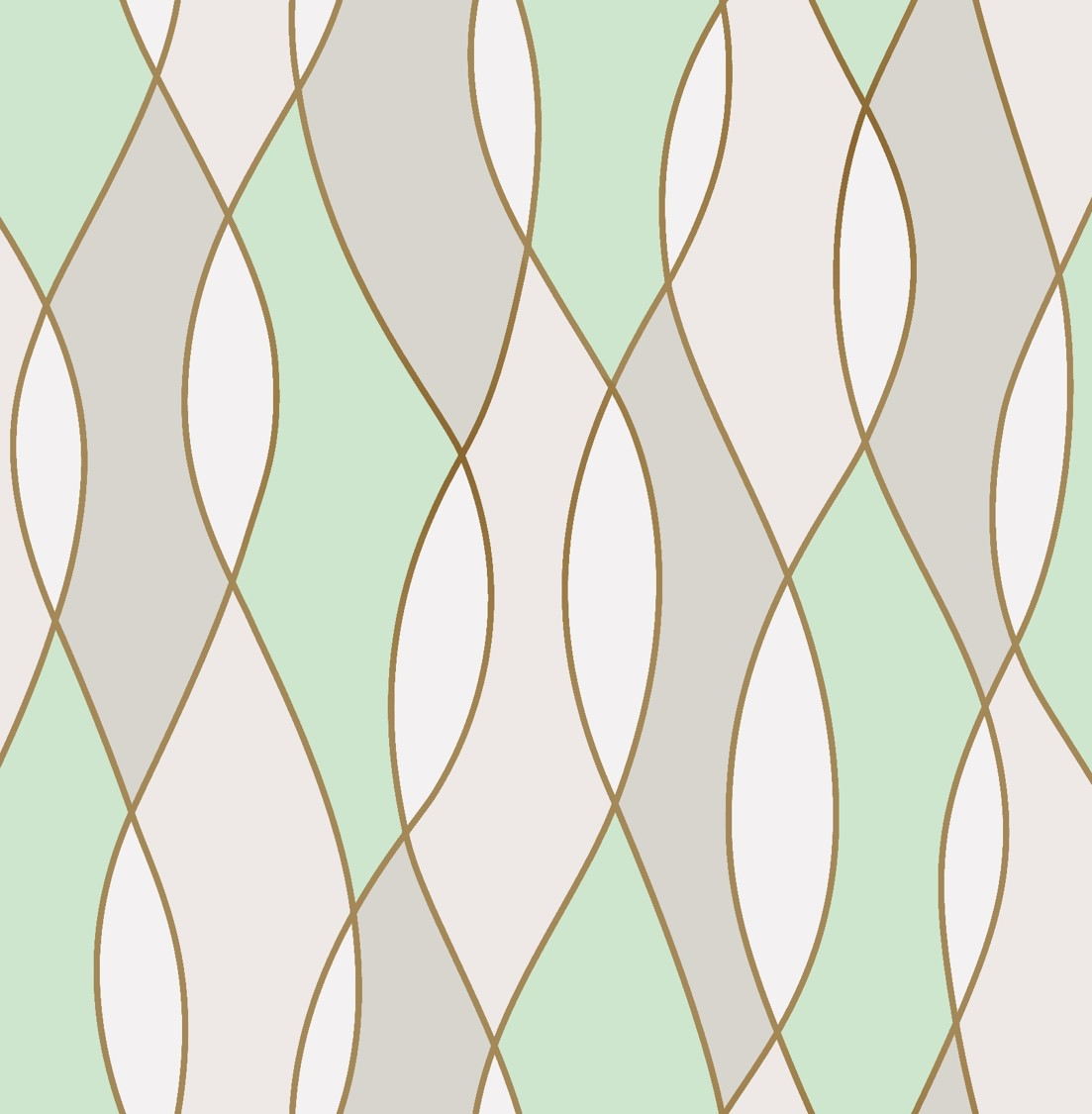3d Effect Apex Wave Geometric Wallpaper Green White Shiny Rose Gold