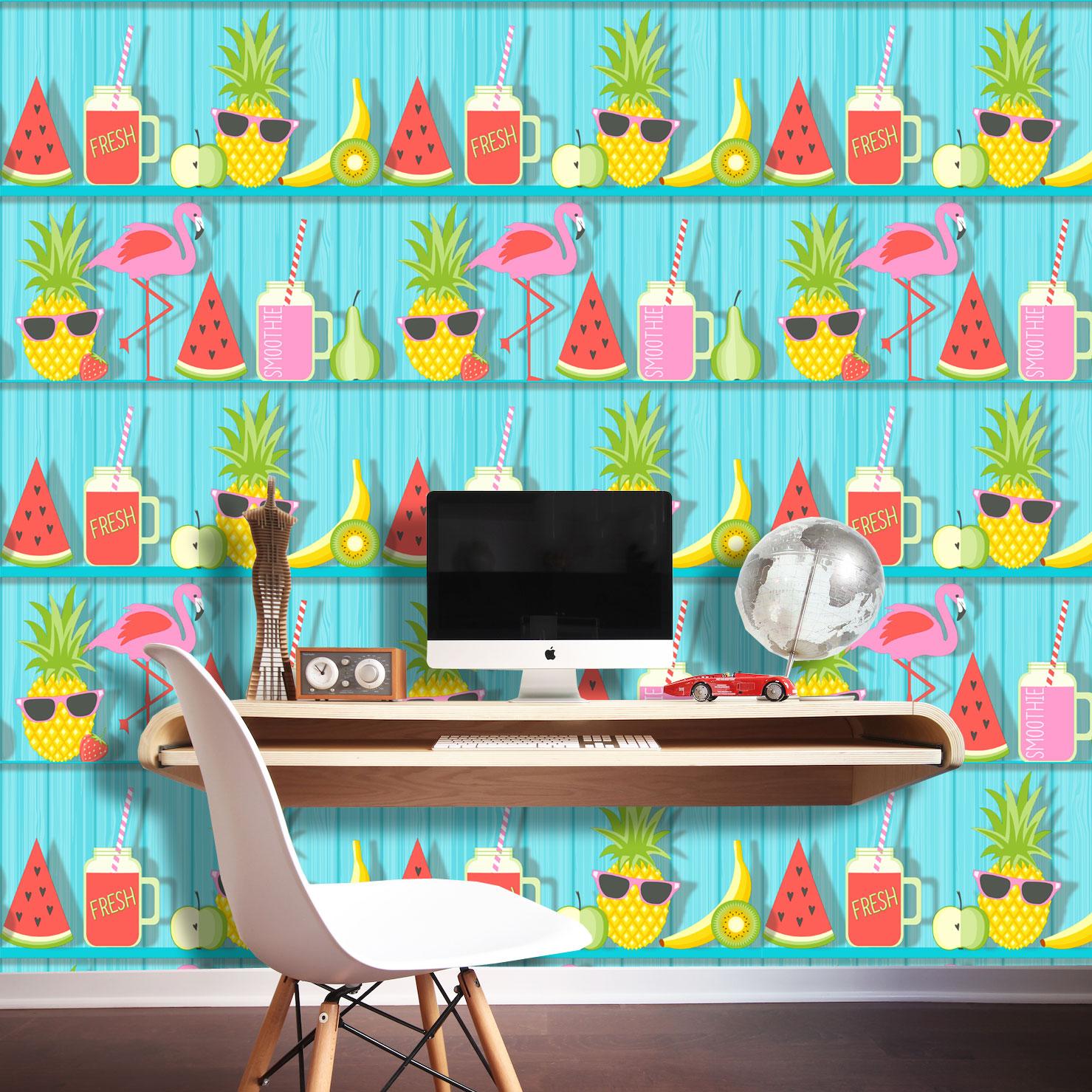 Tropical Wood Shelves FineDecor Kids Wallpaper Grey FD42211 Fruit Coctail