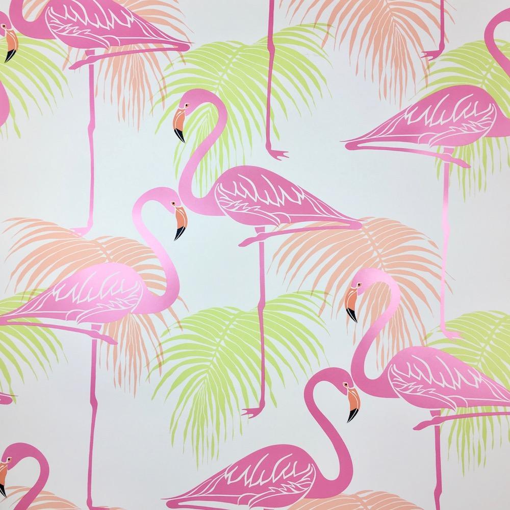 Flamingo Wallpaper Tropical Exotic Print Palm Tree Bird