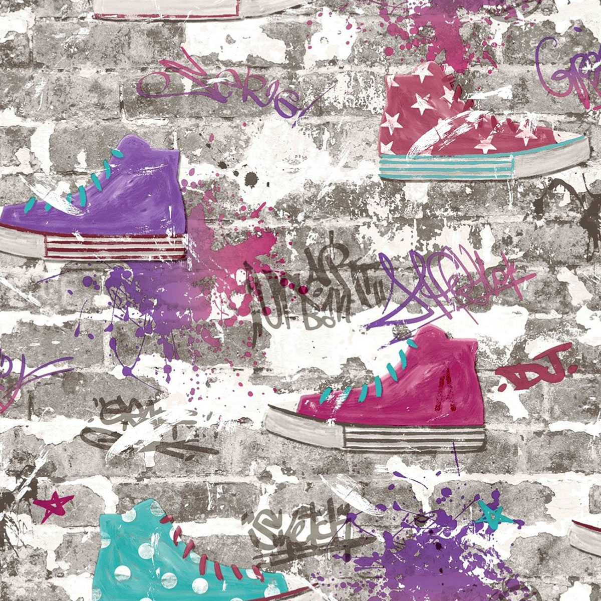 Graffiti Style Wallpaper 3D Brick Wall Urban Street Sneakers