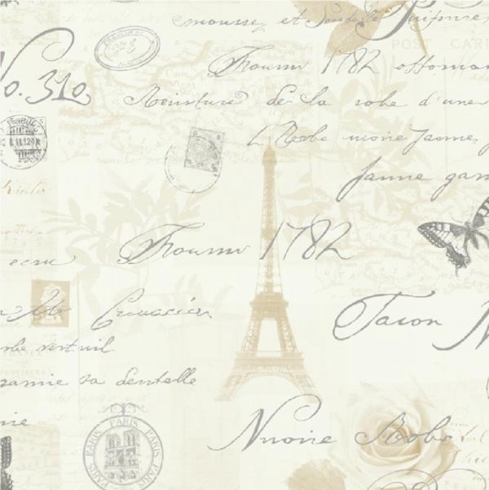 Holden Decor Calligraphy Paris Postcards Travel Stamps Eifell Tower Wallpaper