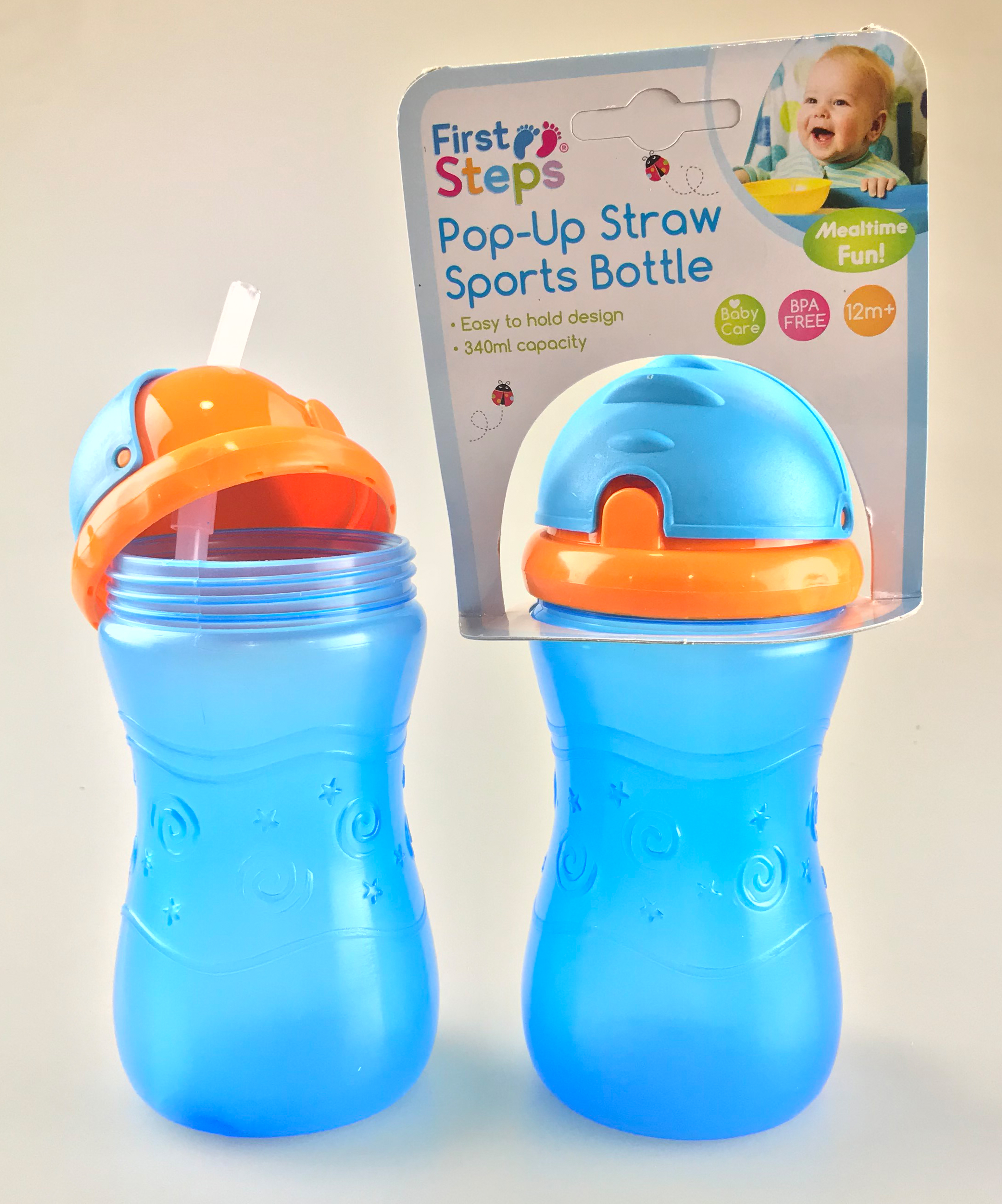 First Steps 2 X Drinks Bottles With Pop Up Straw For Water Juice Us Baby Sport Bottle 310ml Green