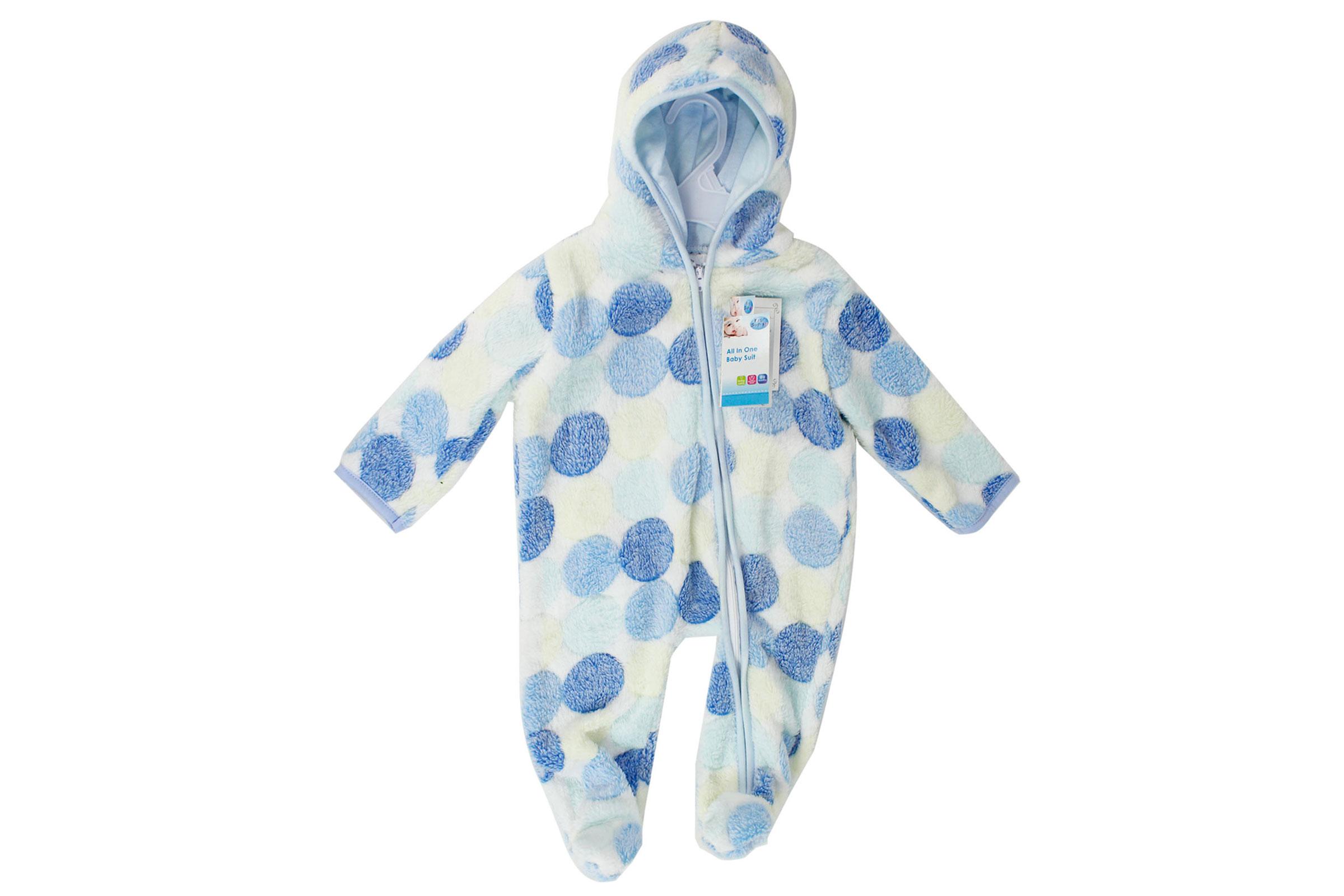 b6c0c946e Baby Fleece Snowsuit One Piece Coat Romper Suit Hooded Cosy Polka ...
