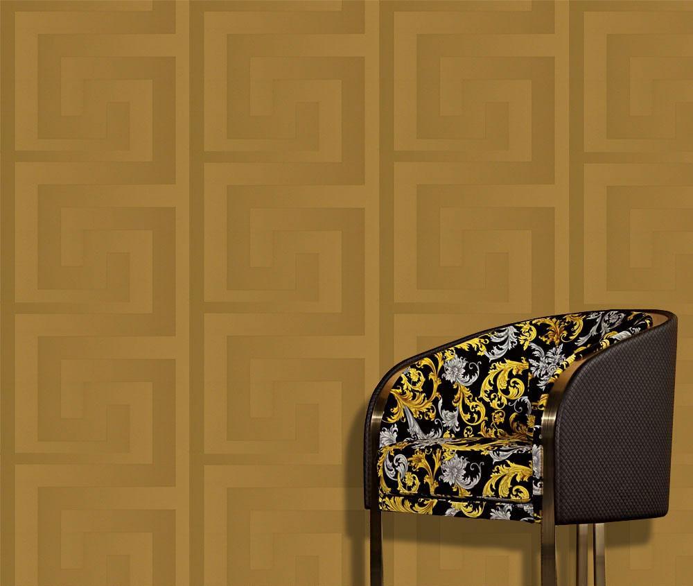 Versace Wallpaper Or Border Gold Black Luxury Satin Modern Designer Greek Key Ebay