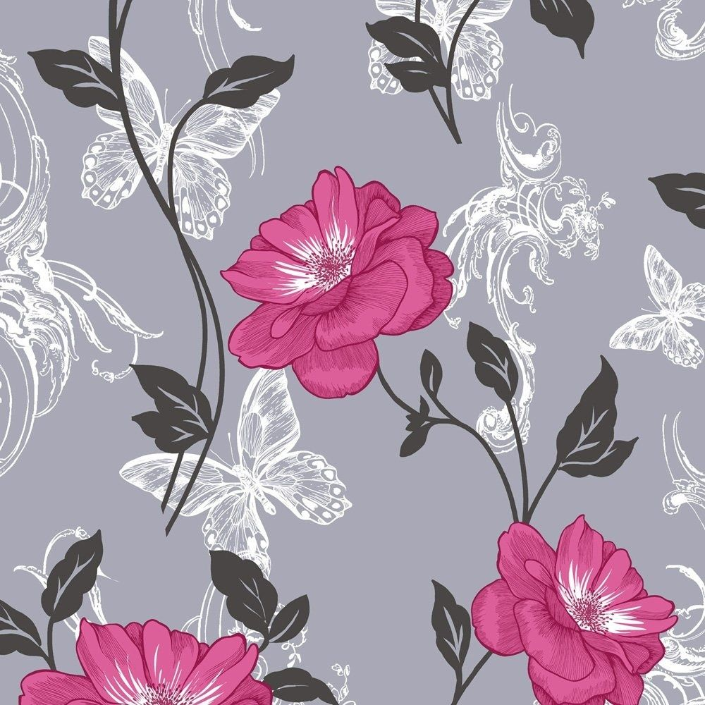 Flower wallpaper floral paisley modern millie grey pink for Red and grey wallpaper