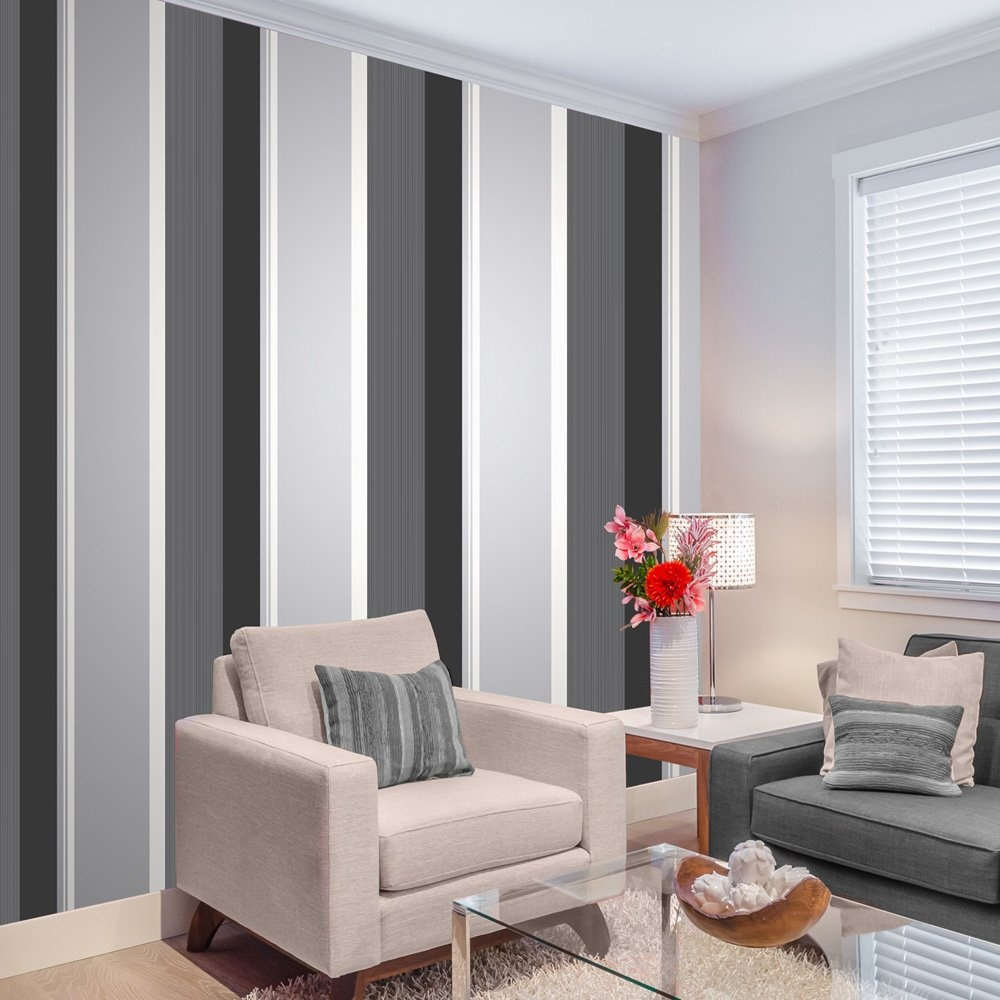 Stripe Wallpaper Bold Charcoal Grey Black White Silver Luxury Modern 9010213003614 Ebay
