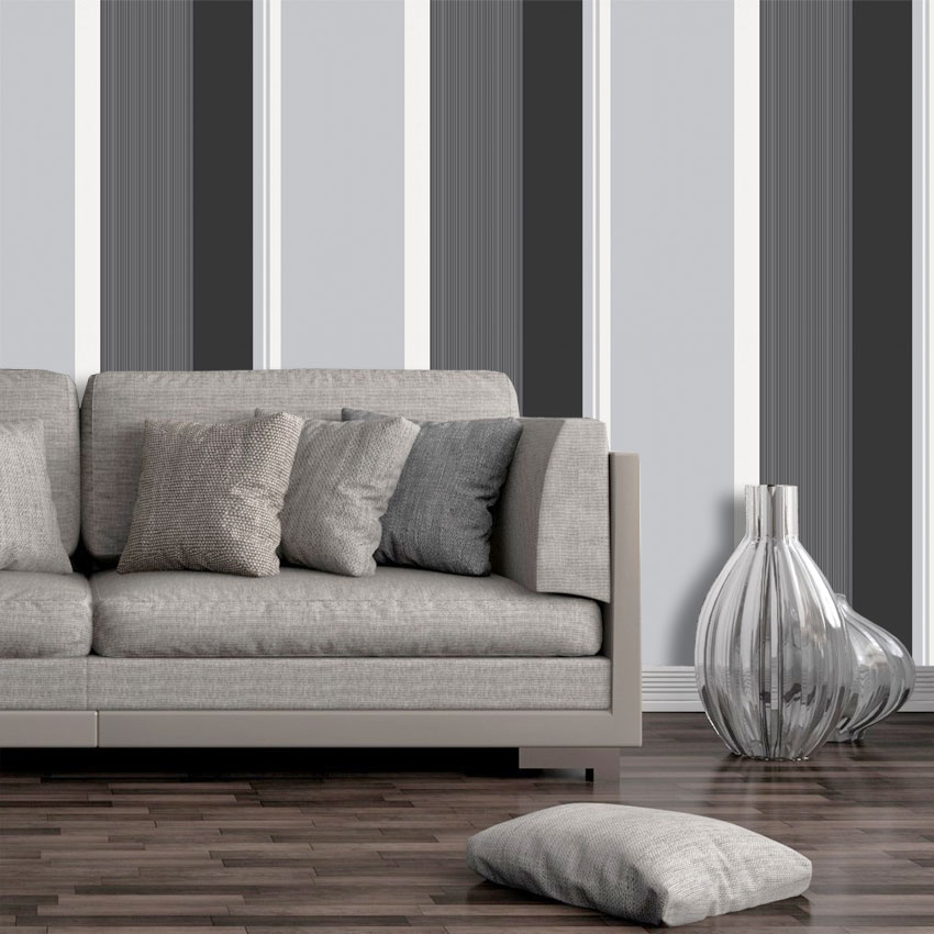 Gray Black White And Gold Bedroom: Stripe Wallpaper Bold Charcoal Grey Black White Silver