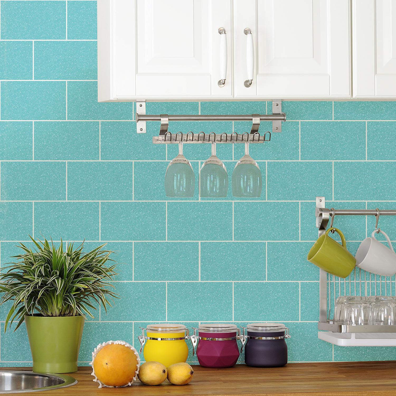 Glitter London Tile Effect Wallpaper Brick Sparkle Kitchen Bathroom ...