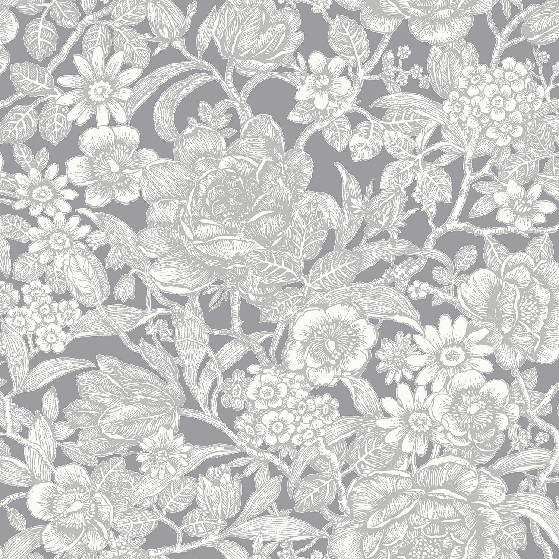 Flower Wallpaper Floral Leaves Stem Luxury Metallic 6 Colours