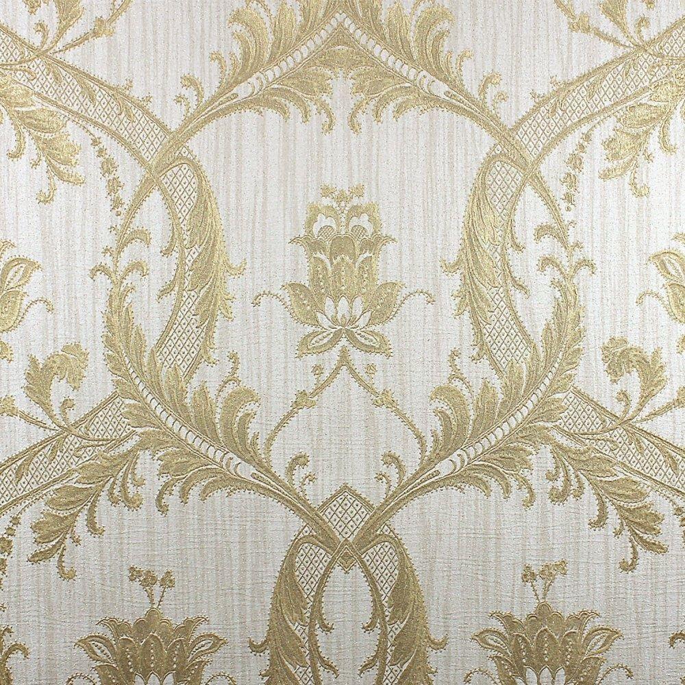 Damask Wallpaper Glitter Textured Vinyl Heavyweight Italian Cream