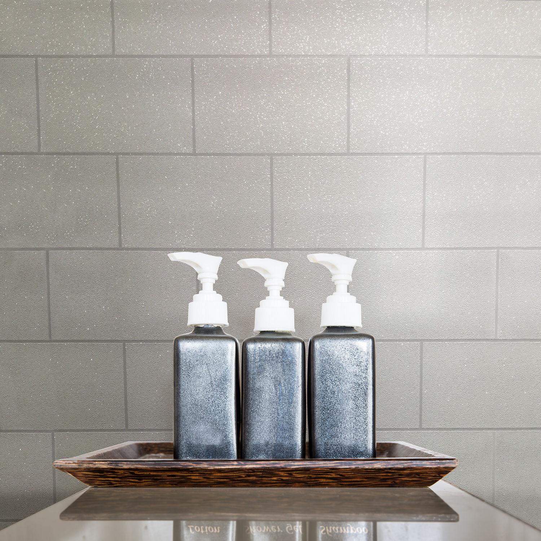 Tile Brick Wallpaper Kitchen Bathroom Textured Vinyl Glitter Shiny ...