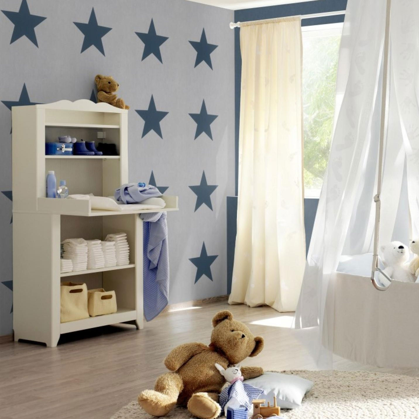Star Wallpaper Stars Bold Kids Teenagers Bedroom Modern Print Grey