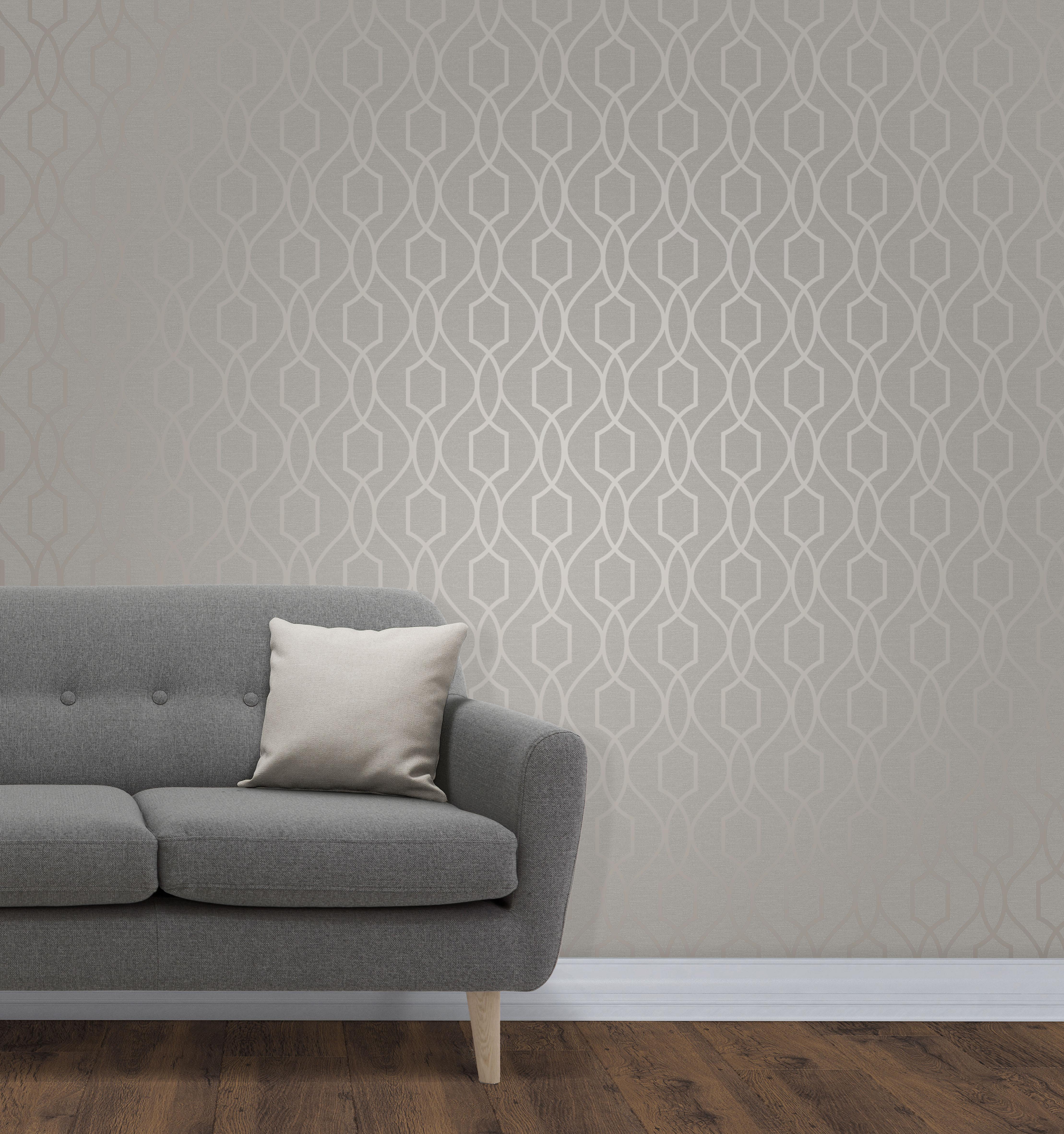 Géométrique Papier Peint Métallique Brillant Gris Taupe Apex 3D Moderne Fine Decor