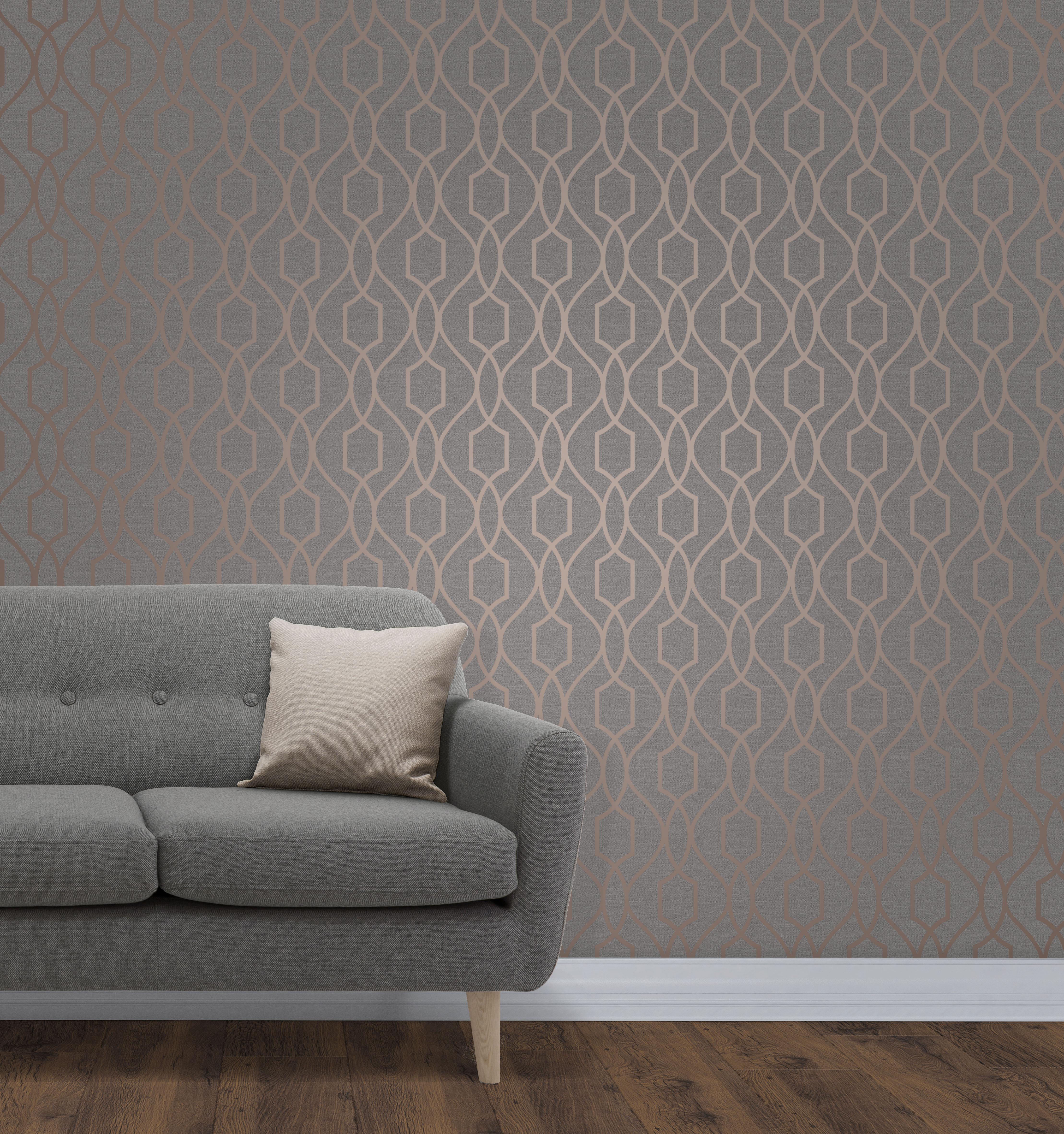 Geometric Wallpaper Metallic Shiny Copper Charcoal Apex 3D Modern Fine Decor