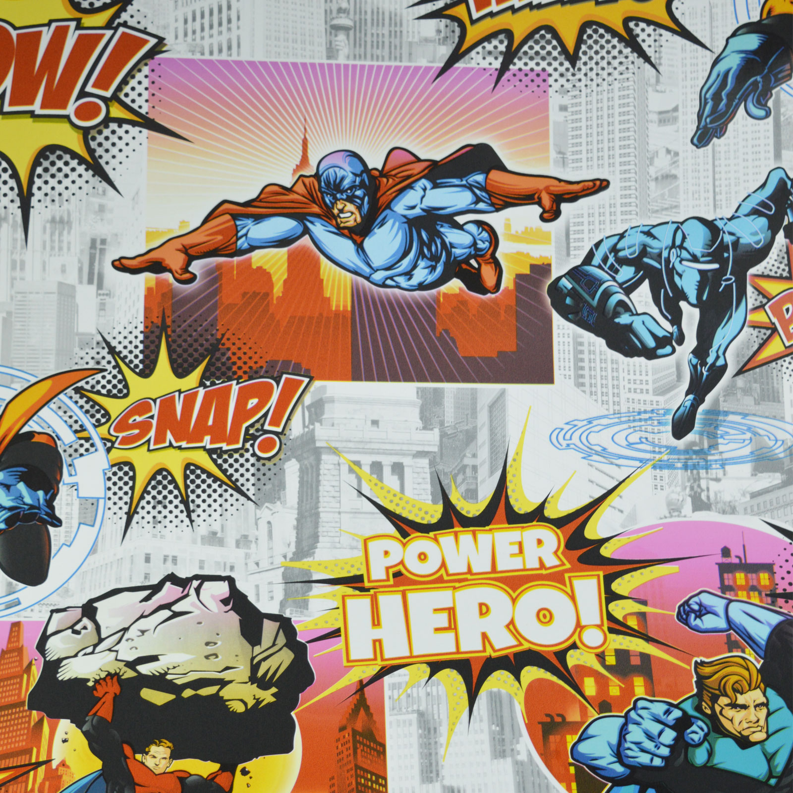 Comic Superhero Collage Buildings Kids City Wallpaper ...