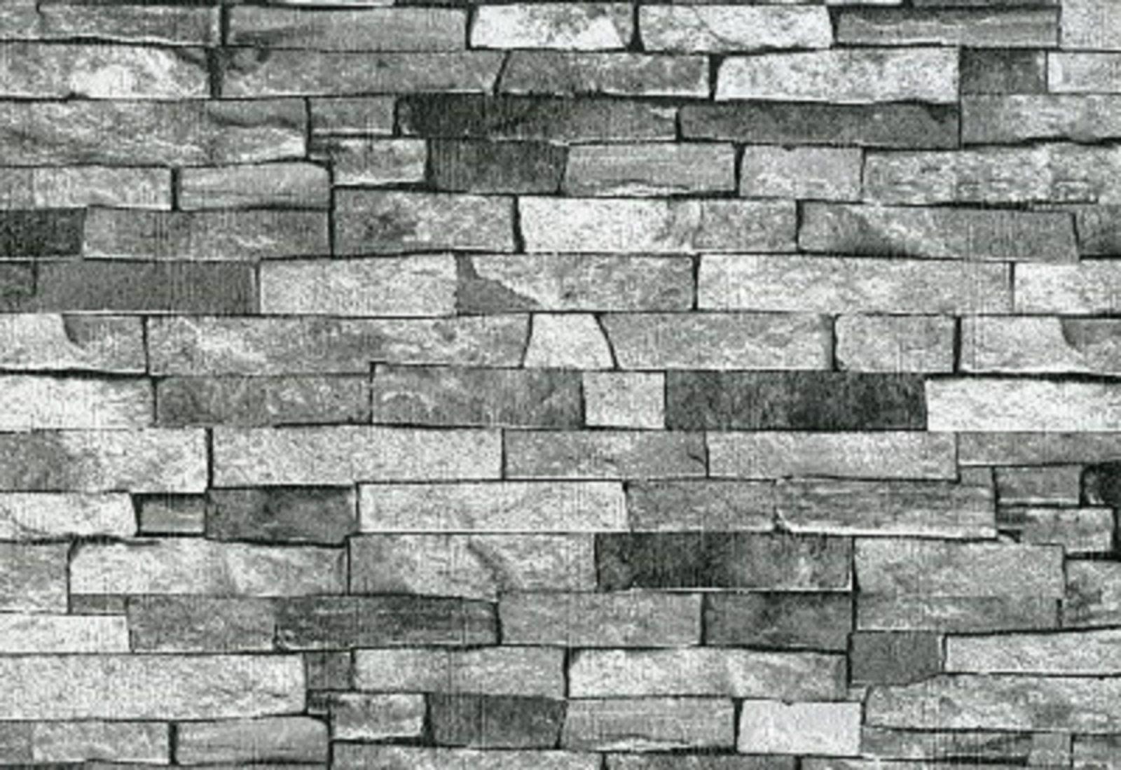 P&S Textured Brick Effect Wallpaper Charcoal Grey Black ...