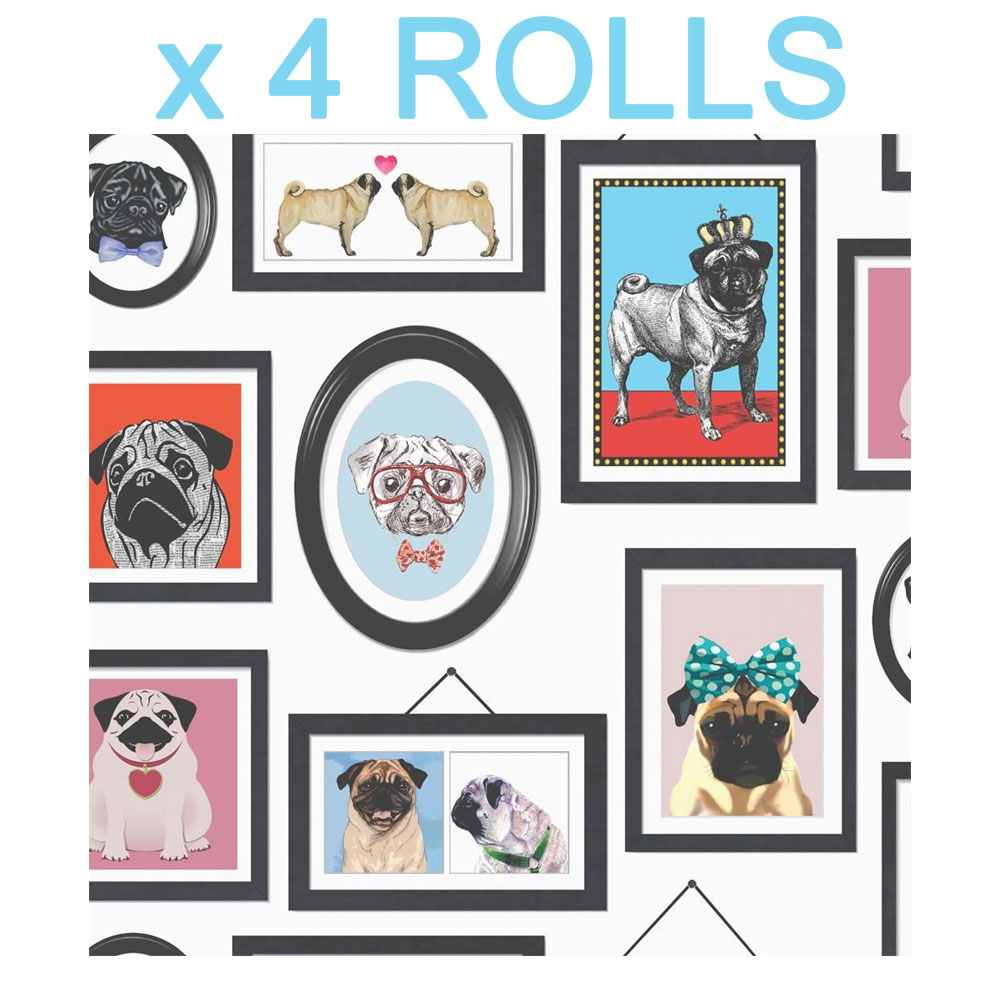 Pugs in Frames Dogs Wallpaper Canine Animals Portaits Holden Decor x 2 Rolls