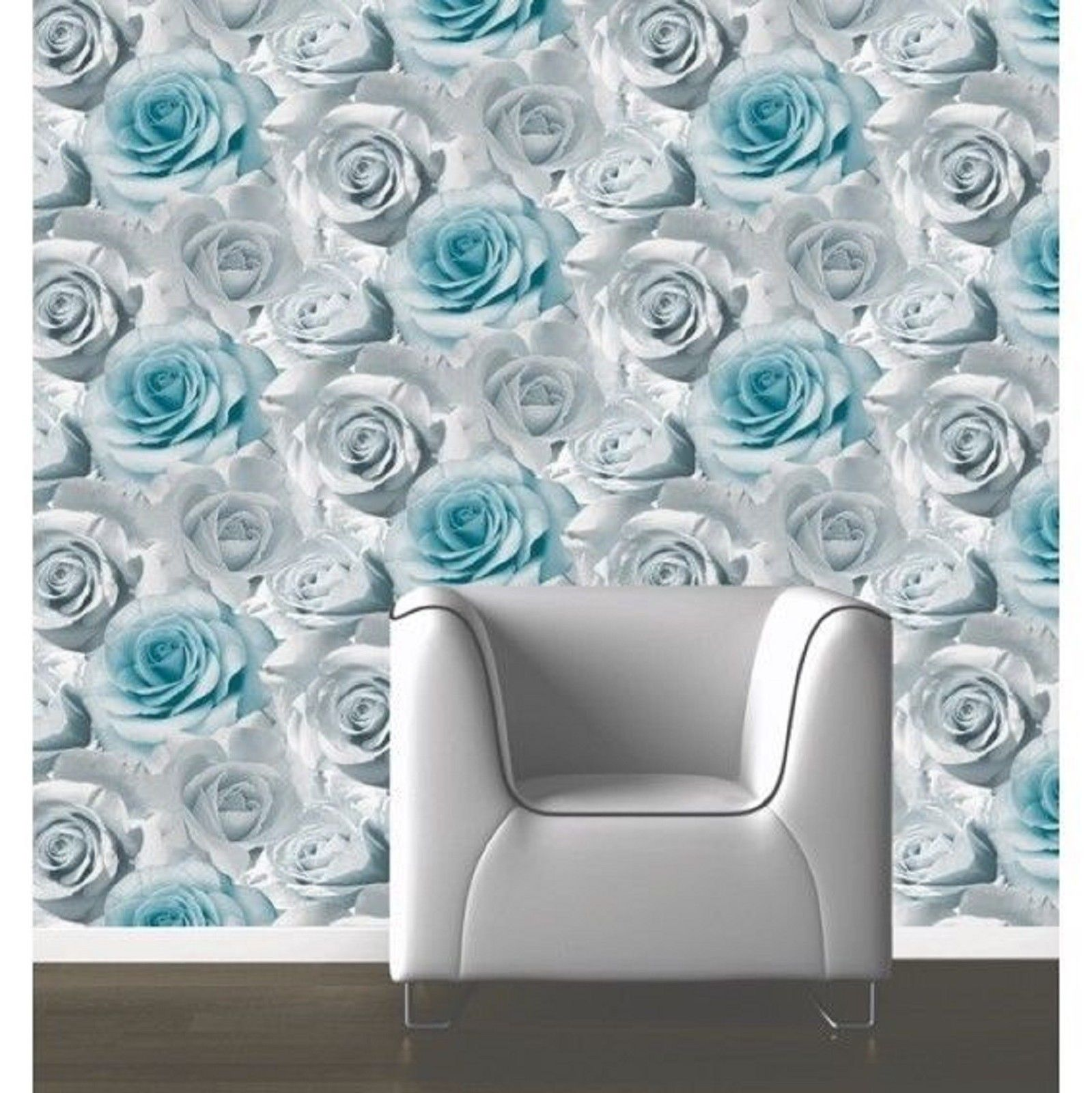 Muriva madison floral flower rose bloom blue silver grey for Front room feature wallpaper