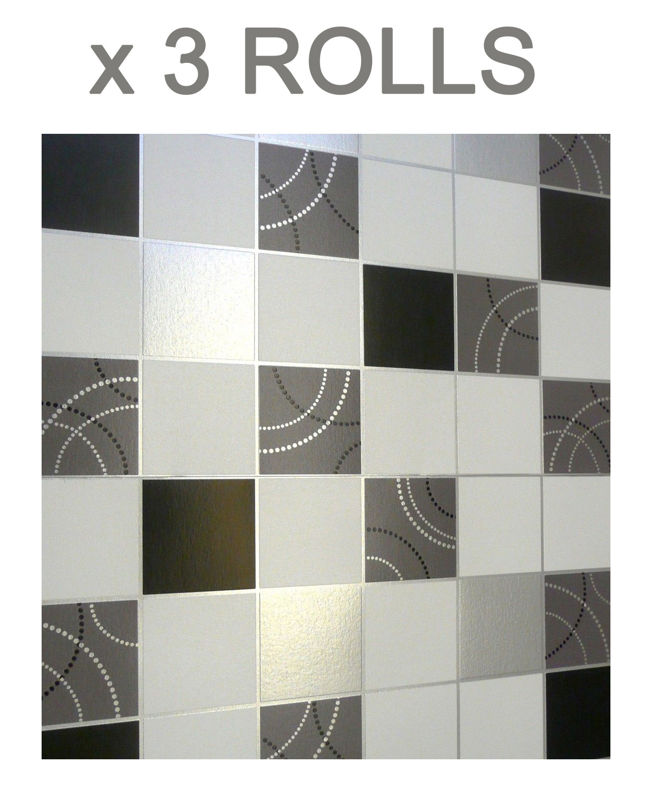Dotty Tile Effect Wallpaper Washable Vinyl Kitchen Bathroom Black