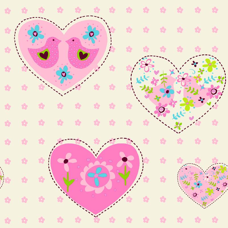 Debona Pink Amour Hearts Birds Girl Childrenu0027s Playroom Bedroom Wallpaper