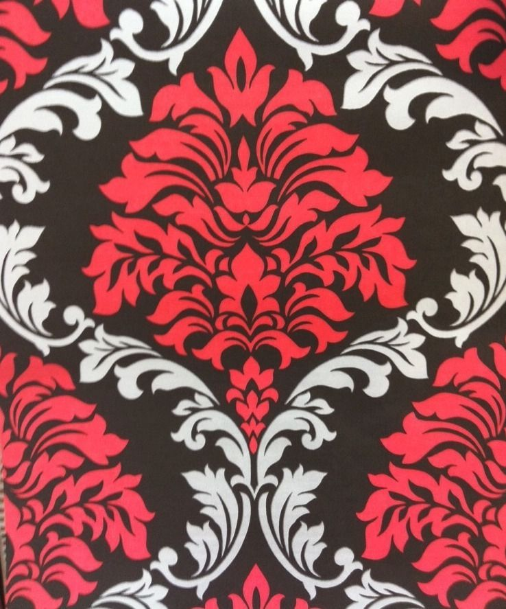 Designer Damask Wallpaper Red Silver Black Feature Wall Bedroom